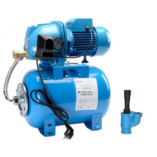 Pret redus la Hidrofor cu ejector aspiratie 20 metri Combi 100 cu vas de 24 litri P=970W h=40 m debit 2400 litri-ora